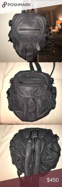 Alexander Wang Marti Leather Backpack Alexander Wang Marti leather backpack in Gray with black hardware. EXCELLENT condition, only worn 3 times. Has detachable and adjustable straps, fold over top with two snap closure, side pockets and internal zip pockets. Great for someone on the go. Alexander Wang Bags Backpacks