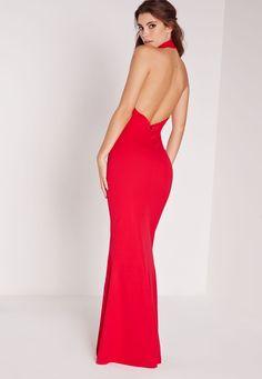 Missguided - Choker Maxi Dress Red