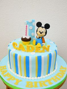 Baby Mickey with cupcakes
