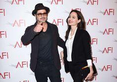 Brad Pitt, left, and Angelina Jolie arrive at the AFI Awards at The Four Seasons Hotel on Friday, Ja... - AP