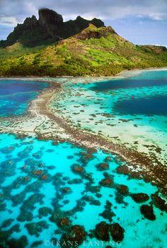 Mt O'Tehanu and barrier reef (aerial), Bora Bora, Tahiti