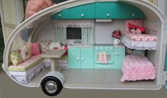 Shabby Chic dollhouse camper makeover | Lori Dolls Roller Glamper Makeover - One inch equals one blog