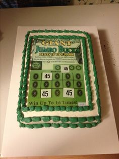 lottery ticket birthday cake with highlighted age for winning numbers...
