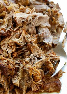 Sweet and Tangy Pulled Pork (with step-by-step directions and video for the slow-cooker and then pressure-cooker) get the recipe at barefeetinthekitchen.com