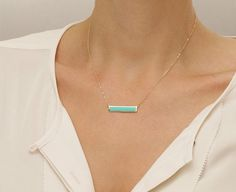 Turquoise Inlay Necklace / Turquoise Bar Necklace / Modern, Simple Turquoise Stone on Delicate Sterling Silver or 14k Gold Fill Chain LN115