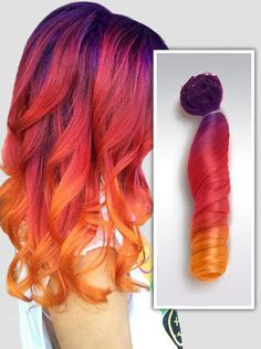 Purple to Red Orange Sunset Mermaid Colorful Ombre Indian Remy Clip In Hair Extensions