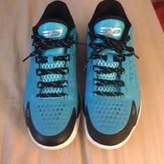 """Curry one pacific blue Under armour curry one low """"panthers"""". Mens size 9. Shoes are practically new, only worn once! Under Armour Shoes Athletic Shoes"""