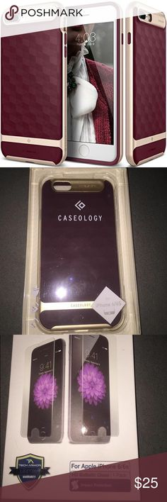 New Caseology Case and Ballistic Screen Protector I have a brand New never opened Gold and maroon case from Caseology! This purchase will include a never opened HD ballistic glass screen protector from Tech Armor! iPhone 6/6s Caseology & Tech Armor Accessories Phone Cases