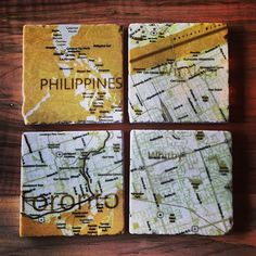Custom cartography! #weddinggift #maps #marble #coasters #handmade #toronto