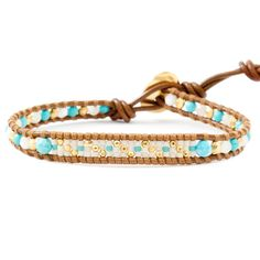Chan Luu - Turquoise Mix Bead Single Wrap Bracelet on Henna Leather, $65.00 (http://www.chanluu.com/bracelets/turquoise-mix-bead-single-wrap-bracelet-on-henna-leather/)