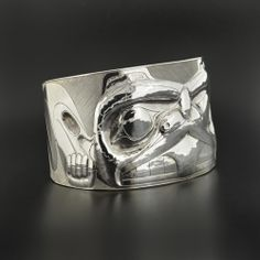 """Sterling Silver Repousse Cuff, Beaver design by Jay Simeon. 1 1/2"""" x 6"""", $6,000.00 Cad. Available from Lattimergallery.com."""