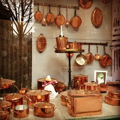 Dehillerin, Paris ~ where I've gotten all my batterie de cuisine and all my copper pots, pans, and cocottes. I've had my antique copper pots found at flea markets retinned here. Copper Pots, Copper Kitchen, Copper And Brass, Antique Copper, Copper Accents, Copper Cooking Pan, Copper Utensils, French Kitchen Decor, Decorating Kitchen