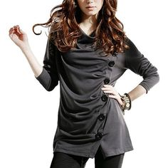 Women's Cowl Neck Button Embellished Ruched Long Sleeve Blouse Basic Top T-shirt