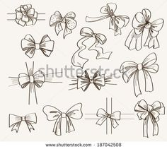 collection of bows used for gift boxes. set of vector sketches - stock vector