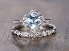 Aquamarine Ring Bridal Set 7mm Cushion Cut Vintage by kilarjewelry