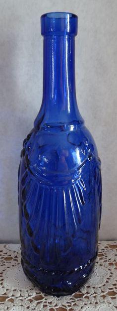 VINTAGE COBALT BLUE GLASS WINE BOTTLE