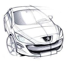 Artist sketch of the car Paul teaches in, the Peugeot 307. Contact A-Class Driving School now to book your driving lessons in Bristol