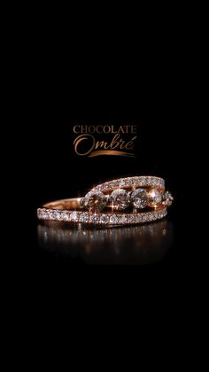 Bague de mariage : Chocolate Ombré™ Ring in Strawberry Gold® with Vanilla Diamonds® - Flashmode Belgium Wedding Rings Rose Gold, Wedding Jewelry, Diamond Rings, Diamond Jewelry, Halo Rings, Jewelry Accessories, Jewelry Design, Mode Glamour, Gold Rings Jewelry