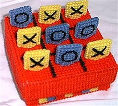 Everything Plastic Canvas - Tic-Tac-Toe Game Plastic Canvas Books, Plastic Canvas Stitches, Plastic Canvas Crafts, Plastic Canvas Patterns, Tic Tac Toe Game, Different Games, Game Pieces, New Hobbies, Knit Crochet