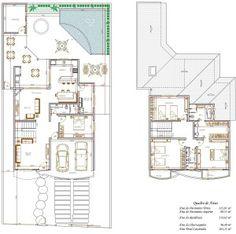 Plantas de Sobrados com 4 Quartos Grátis Craftsman Floor Plans, Glass Brick, Wall Bookshelves, Modern Contemporary Homes, Hidden Storage, Plan Design, Skylight, My House, Autocad