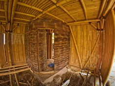 Bamboo construction of bathroom wall from black bamboo.