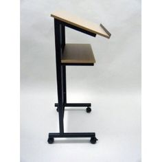 $99 Wheeled Lectern with Storage Shelf - Compact Standing Desk for Reading - Lap-Top Stand