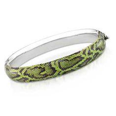 Green Snake Print Bangle Bracelet in Sterling Silver - Zales