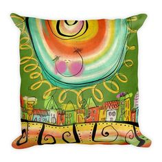 PILLOW 18x18 with Insert  Happy Day by CatruSweetArt on Etsy