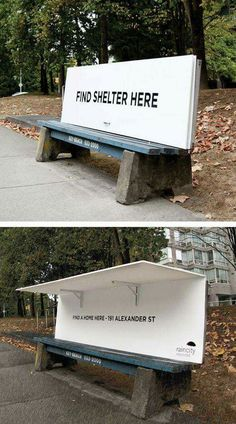 Covered park bench  for homeless