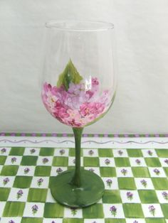 Hand Painted HYDRANGEA White Wine glass by artistictini on Etsy, $17.95