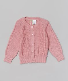 This Petal Pink Cable Knit Cardigan - Infant by Sophie & Sam is perfect! #zulilyfinds