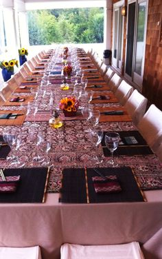 Centerpieces can easily and SAFELY be removed from this table to make way for serving platters and baskets...