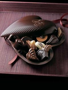 Chocolate Heart Box filled with Assorted Chocolates ~