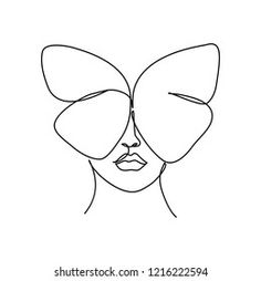 Abstract Face Butterfly One Line Drawing Stock Vector (Royalty Free) 1216222594