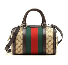 Gucci Women's Vintage Web Original GG Canvas Boston Bag Small