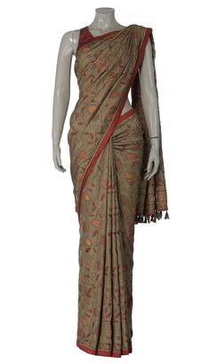 Light Brown and Orange Nakshi Kantha Embroidered Silk Saree