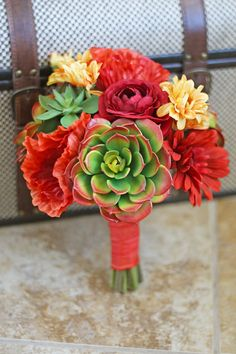 Succulents Wedding Bouquet  Red Orange by SouthernGirlWeddings, $75.00