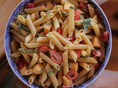 Spicy Pasta Salad with Smoked Gouda, Tomatoes and Basil recipe from Ree Drummond via Food Network