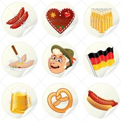 Buy Oktoberfest Labels by PILart on GraphicRiver. Labels with Cartoon Oktoberfest Symbols and Illustrations. Set of Vector Icons for Your Design. German Oktoberfest, Oktoberfest Party, Beer Fest, Bratwurst, Food Labels, Vector Icons, Your Design, Panda, Flag