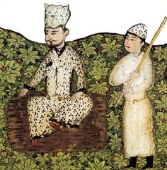 Gayomart, the first man of Zoroastrian legend, reclines on a tiger skin: his seed fell into the earth and became a rhubarb plant which turned into the first human couple; 15th century Persian manuscript.