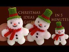 Como hacer fácil MUÑECO DE NIEVE en cinco minutos - YouTube Christmas Toys, Christmas Bells, Christmas Ornaments, Diy Crochet, Crochet Ideas, Cute Snowman, Projects To Try, Make It Yourself, Youtube