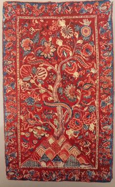 Palampore decorative hanging, Coromandel coast, reportedly found in Sri Lanka. As featured in the book 'Indian Cotton Textiles; Seven centuries of Chintz from the Karun Thakar Collection' by John Guy and Karun Thaker. Cotton Textile, Indian Textiles, Furniture Making, Sri Lanka, Coast, Guy, Organic, Wallpaper, Antiques