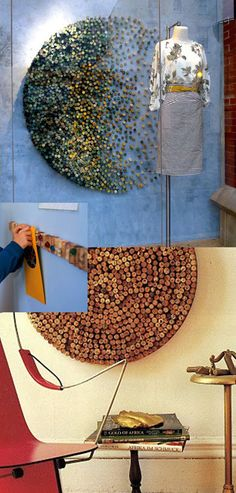 Here are a bunch of ideas on what to do with wine corks. (click the link) Love them. I especially like the idea of making a circle out of them to display photos and after seeing the Anthropologie window display I think I might paint them and arrange them to make a globe. Perfect. :)