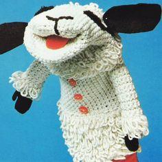 Vintage Crochet Pattern PDF  Lambchop Glove Puppet   Toy  Sheep Lamb Chop Retro