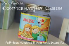 mealtime magic! free printable conversation cards to make family dinners fun at happyhomefairy.com!! these are really adorable!!!