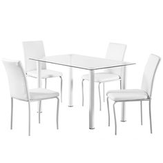 The Bergen 55cm Glass Dining Set with 4 Chairs is a practical and stylish option for any design of dining room. Featuring a generous dining table with tempered glass top and stunning metal legs, this set comes with four matching chairs with padded faux leather seats for a comfortable dining experience.Available in a choice of black or white, this sleek set is ideal for any modern home.