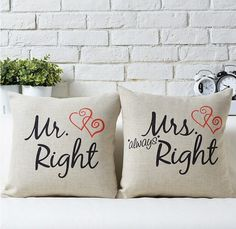 Right For You Mrs & Mrs Pillow Case - 45 x 45cm