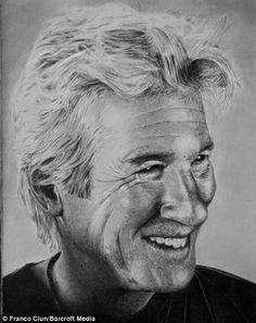 A pencil-drawn portrait of the actor Richard Gere