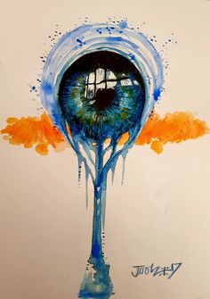 Fantasy Eye. Aquarelle and acrylic on A4 watercolour paper.