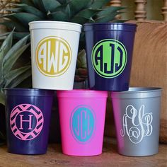 Monogrammed Plastic Stadium Party Cups $72.00 for set of 100